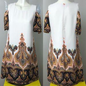 Luxology • Ivory Boho Print Cold Shoulder Dress 4